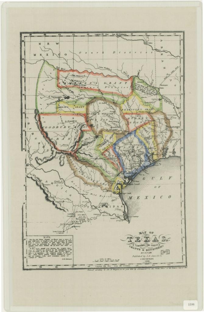 Texas Map Published 1836 | Texas | Tejidos - Texas Map 1836