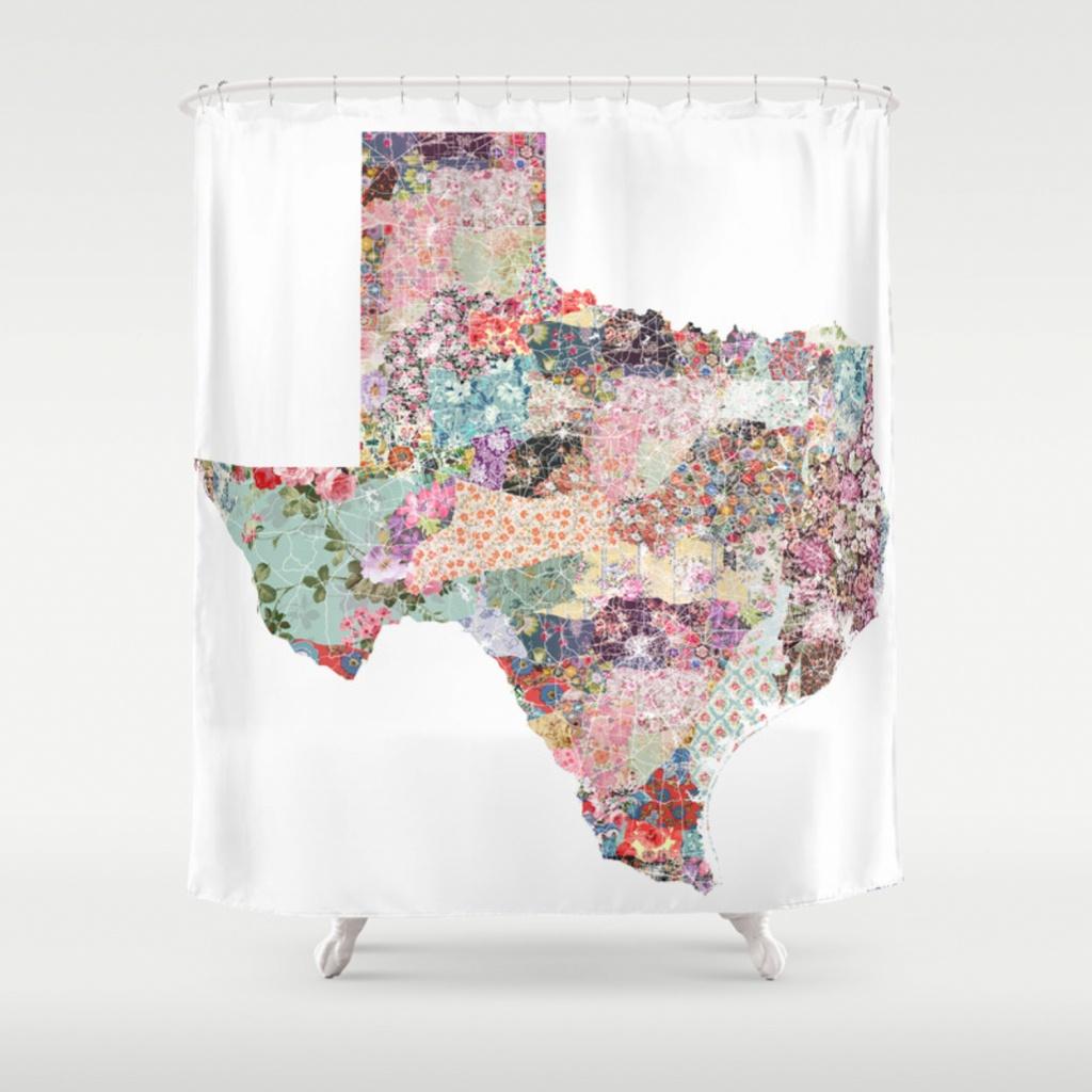 Texas Map Shower Curtainpoeticmaps   Society6 - Texas Map Shower Curtain