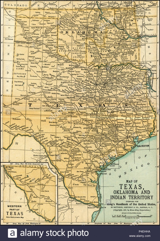 Texas Oklahoma Indian Territory Antique Map 1891: Map Of Oklahoma - Antique Texas Map Reproductions
