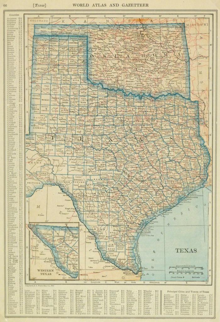 Texas & Oklahoma Map, 1921 - Original Art, Antique Maps & Prints - Map Of Oklahoma And Texas Together