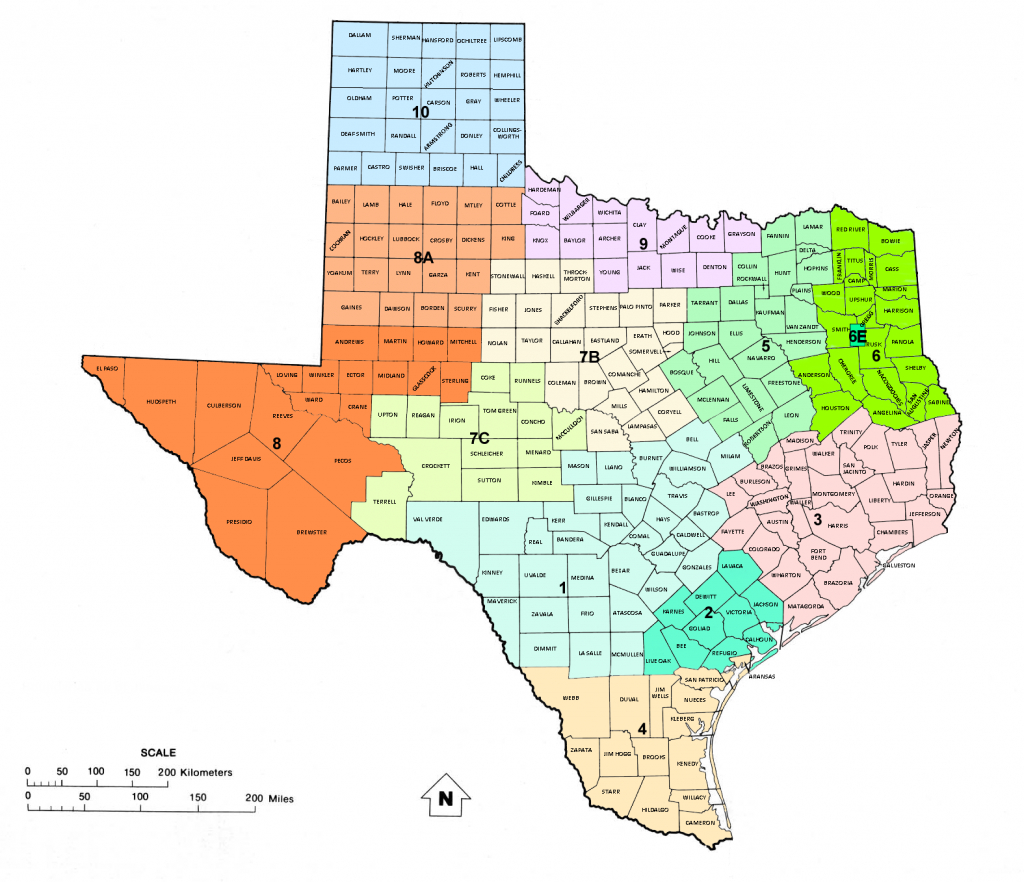 Texas Railroad Commission Districts, And Oil And Gas Map Of Texas   - Texas District Map