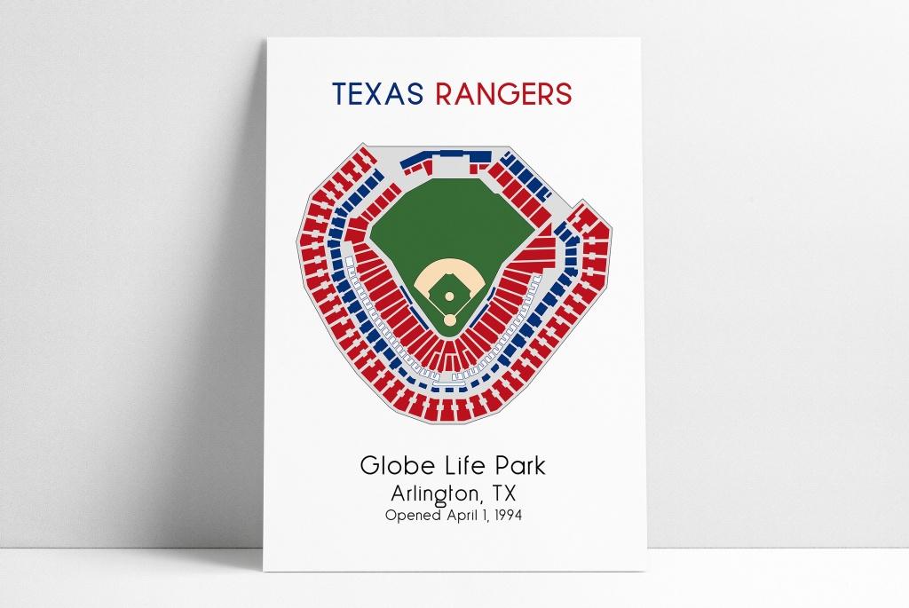 Texas Rangers Mlb Stadium Map Ballpark Map Baseball Stadium   Etsy - Texas Rangers Map