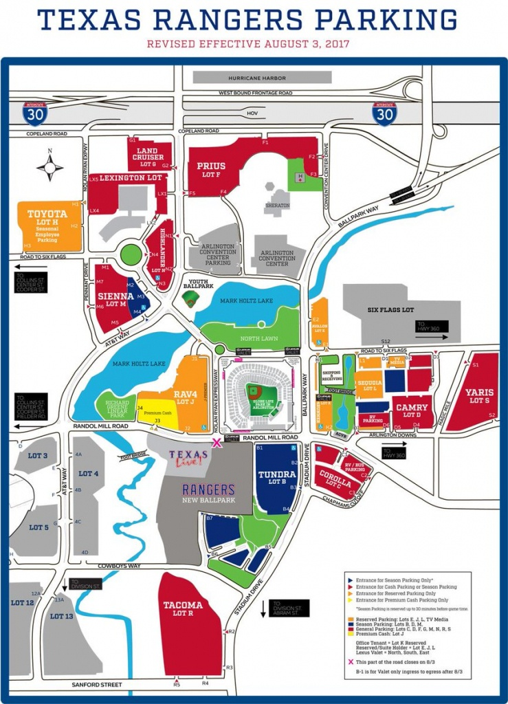 """Texas Rangers On Twitter: """"select Roads & Parking Lots Are Closed - Texas Rangers Map"""