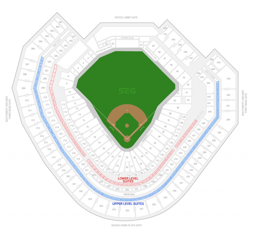 Texas Rangers Suite Rentals | Globe Life Park - Texas Rangers Stadium Parking Map