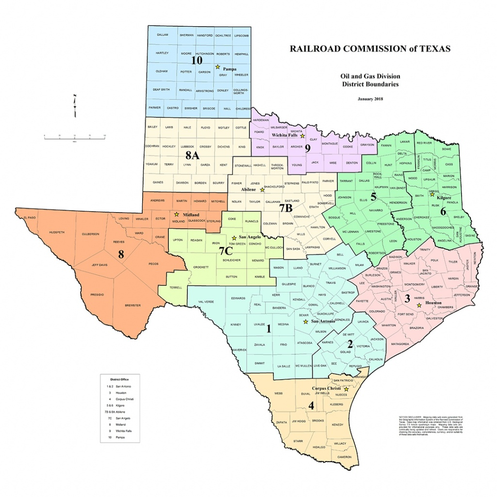 Texas Rrc - Special Map Products Available For Purchase - Texas District Map