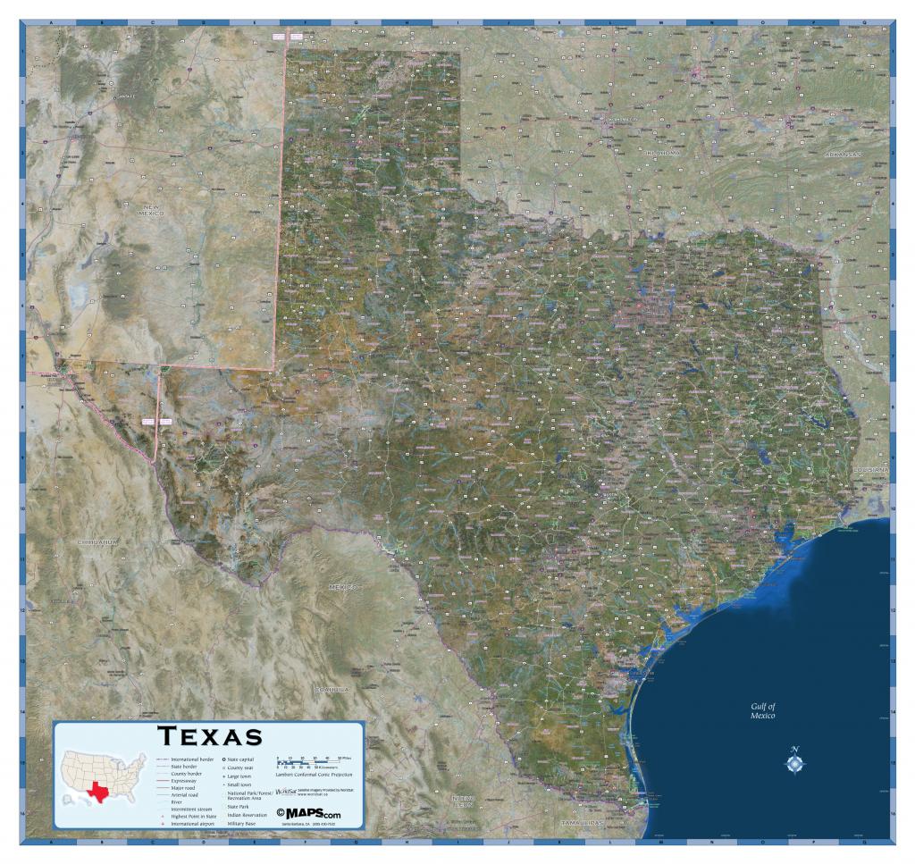 Texas Satellite Wall Map - Maps - Satellite Map Of Texas