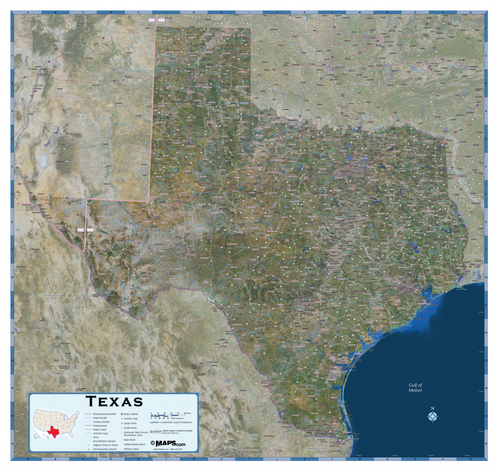 Texas Satellite Wall Map - Maps - Texas Wall Map