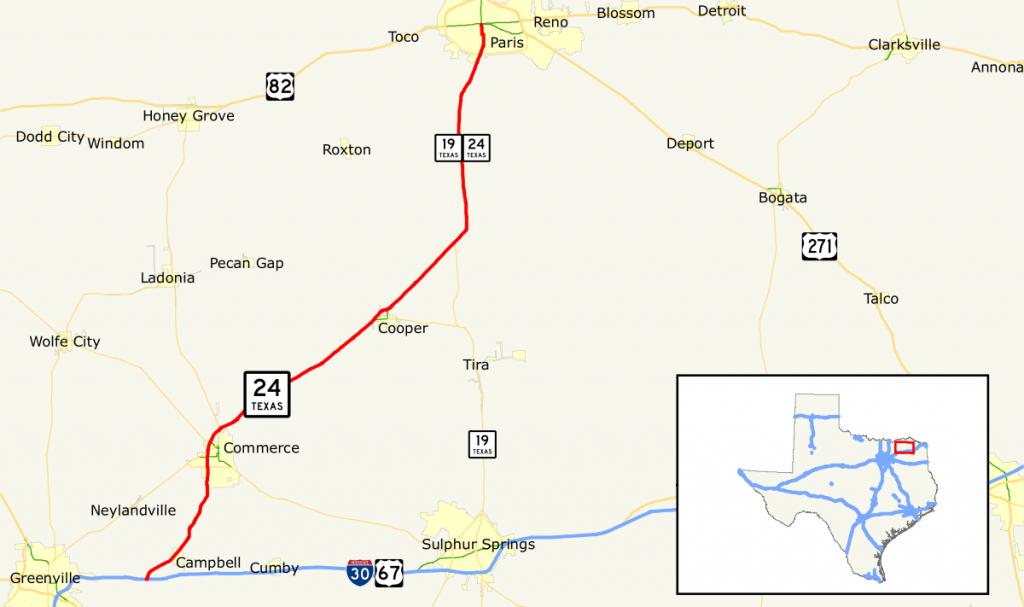 Texas State Highway 24 - Wikipedia - Paris Texas Map