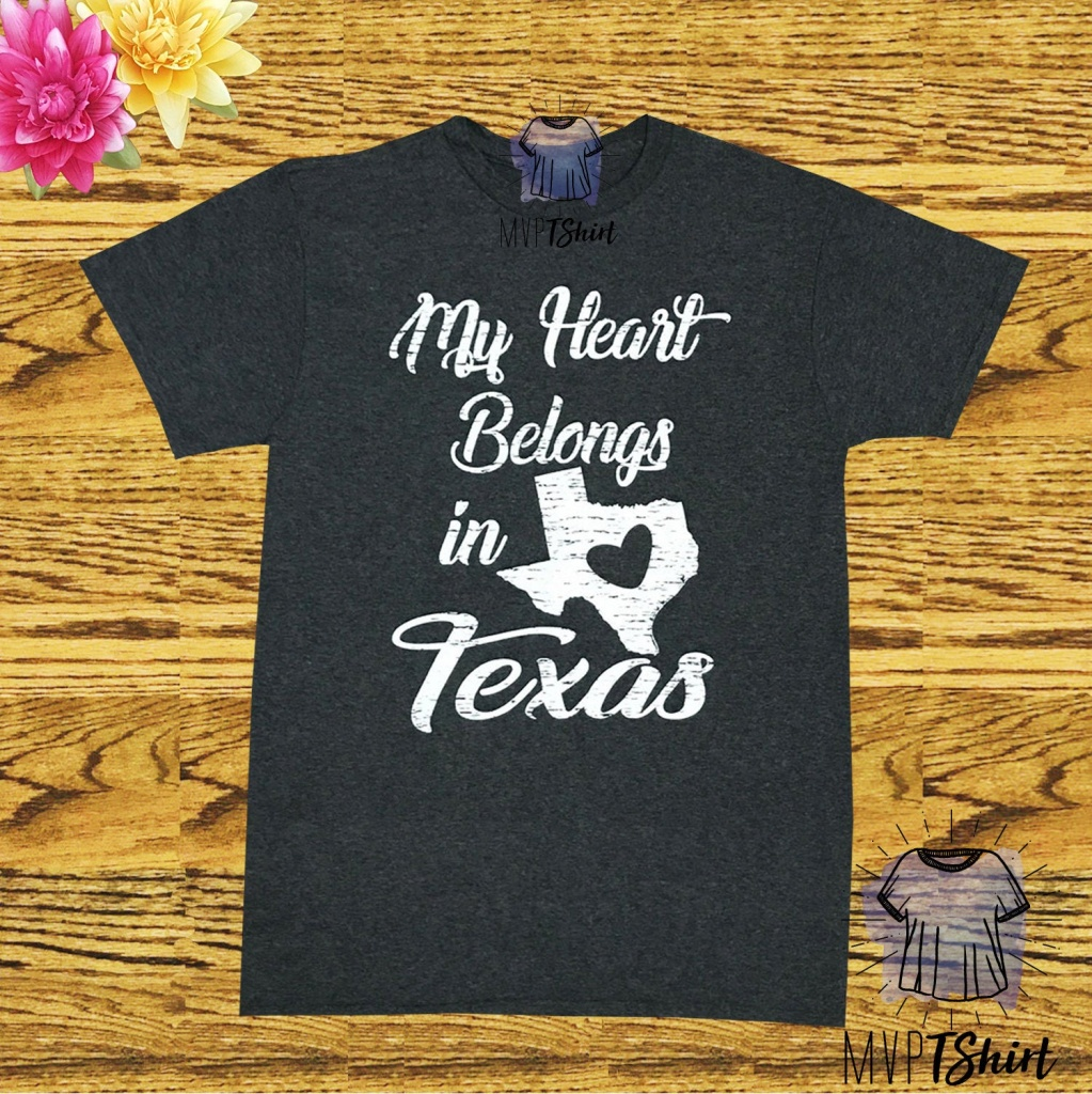 Texas T-Shirt-My Heart Belongs In Texas Map Graphic | Etsy - Texas Not Texas Map T Shirt