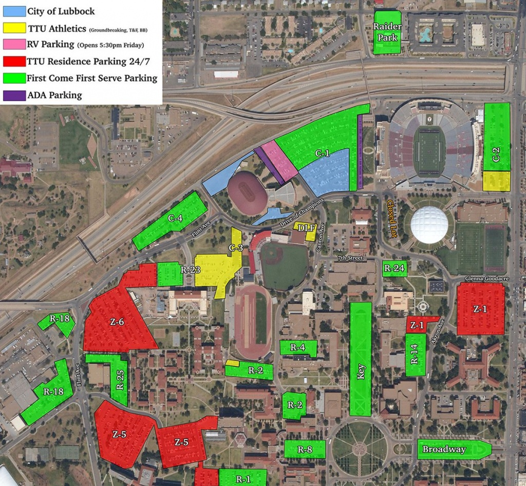 """Texas Tech Football On Twitter: """"here Is A Parking Map For - Texas Tech Football Parking Map 2017"""