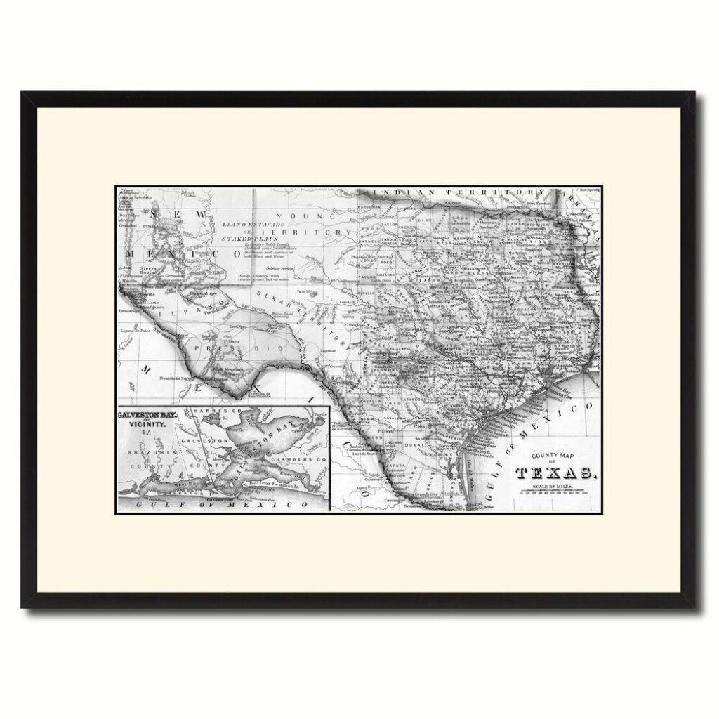 Texas Vintage B&w Map Canvas Print, Picture Frame Home Decor Wall - Texas Map Canvas
