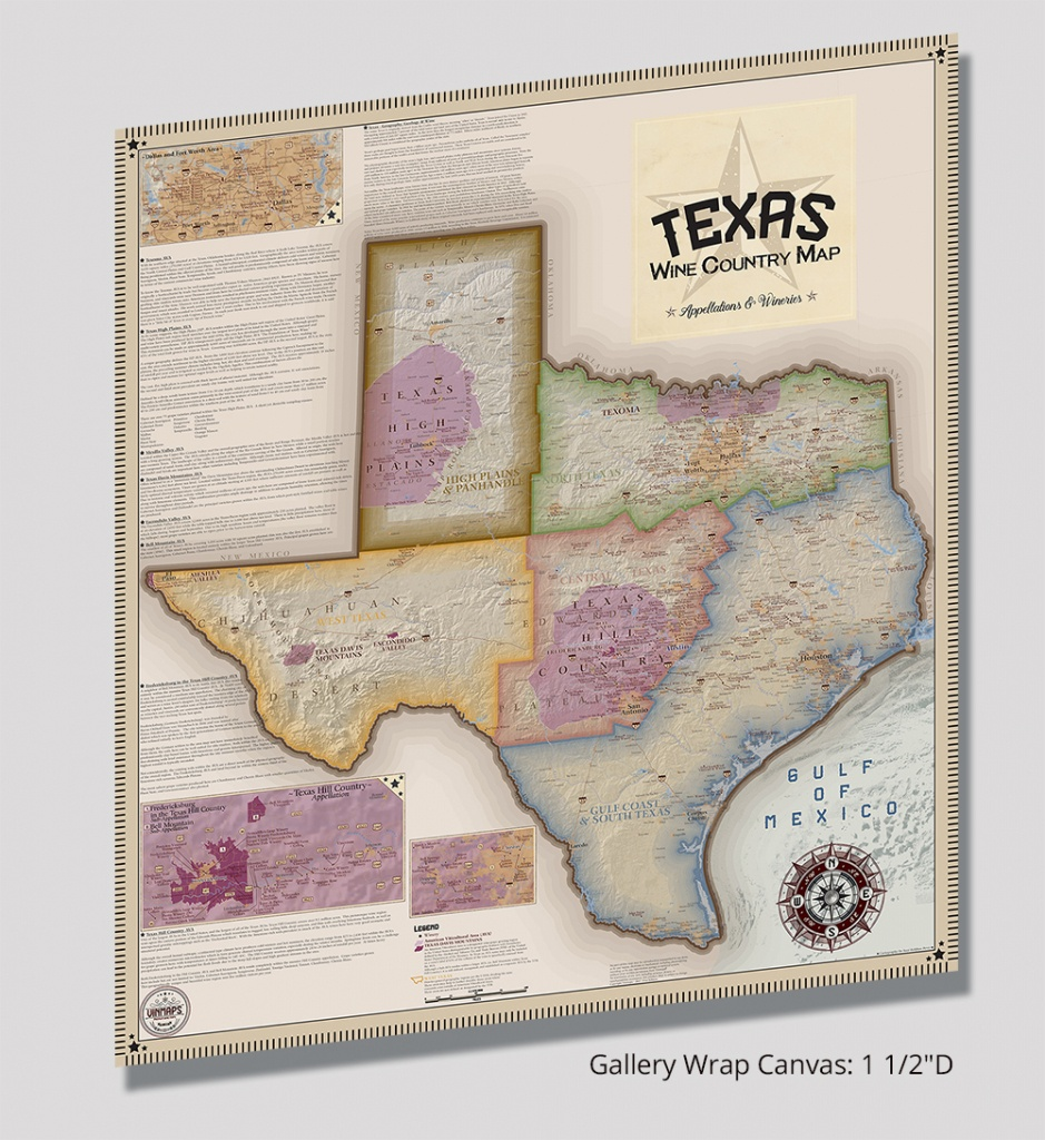 Texas Wine Country Map, Appellations & Wineries - Gallery Wrap - Framed Texas Map