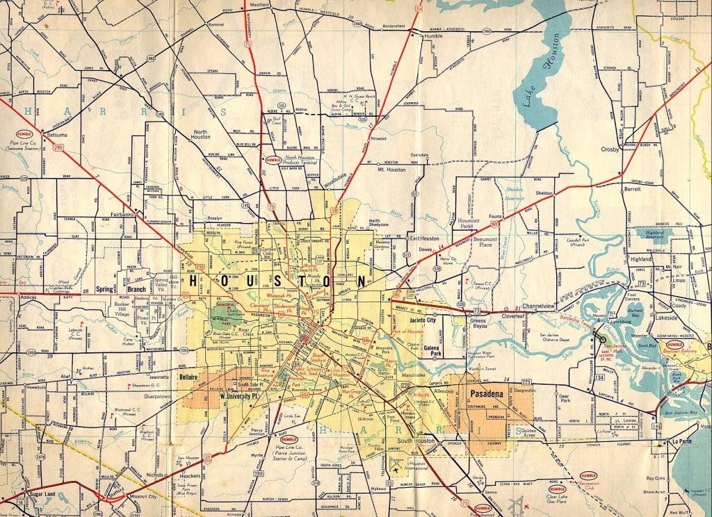 Texasfreeway > Houston > Historical Information > Old Road Maps - Road Map Of Houston Texas