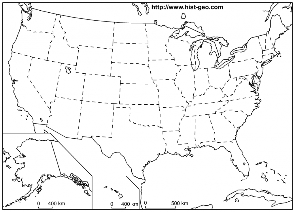 That Blank School Map Displaying The 50 States Of The United States - United States Map With State Names And Capitals Printable