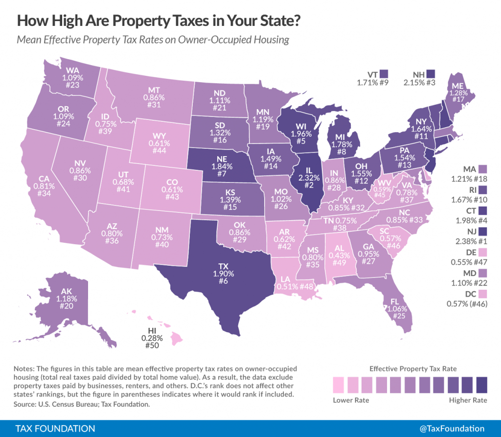 The 10 Worst States For Property Taxes | The Fiscal Times - Florida Property Tax Map