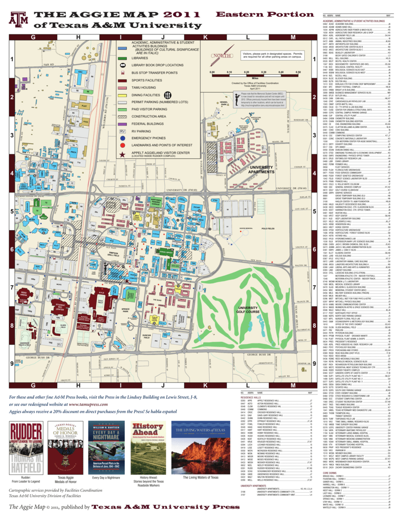 The Aggie Map 2011 Of Texas A&m University - Texas A&m Housing Map