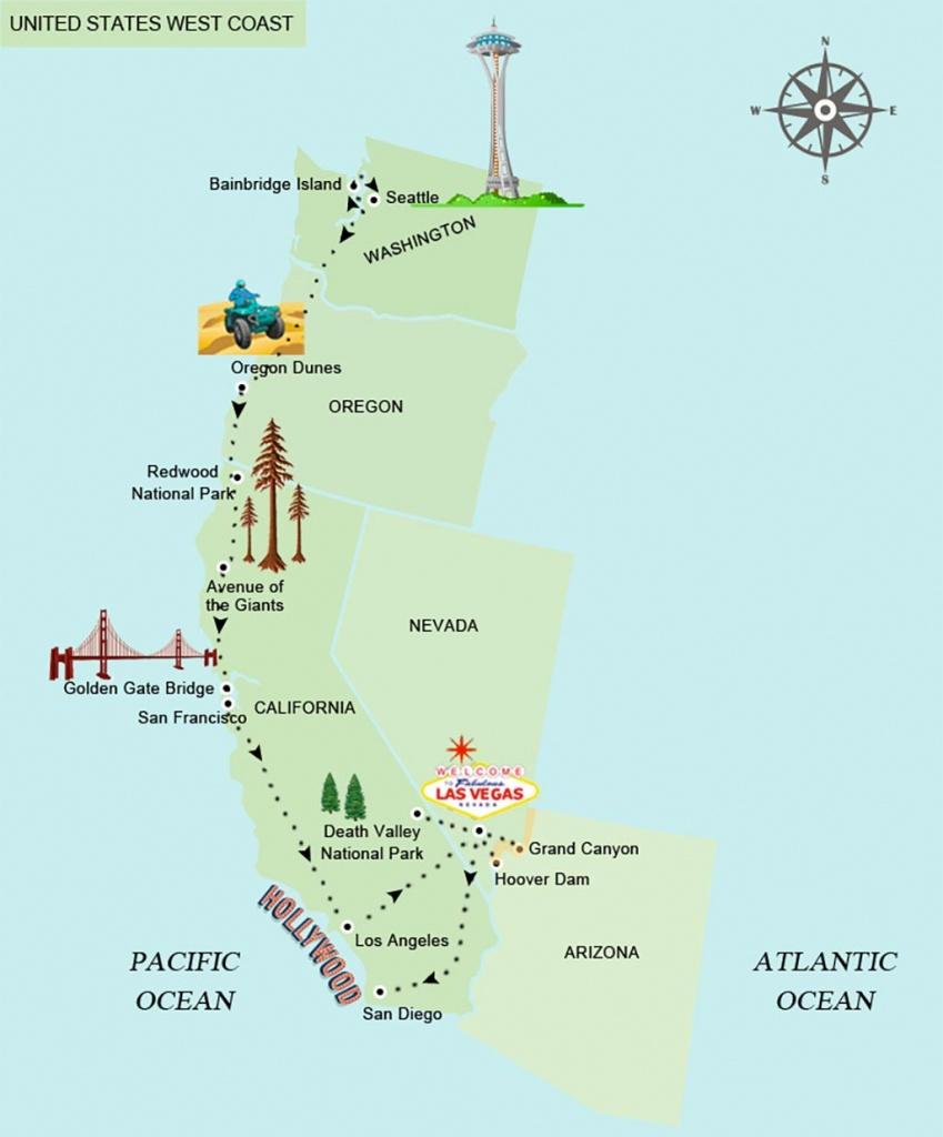 The American West Coast Road Trip Planned - California Coast Map Road Trip