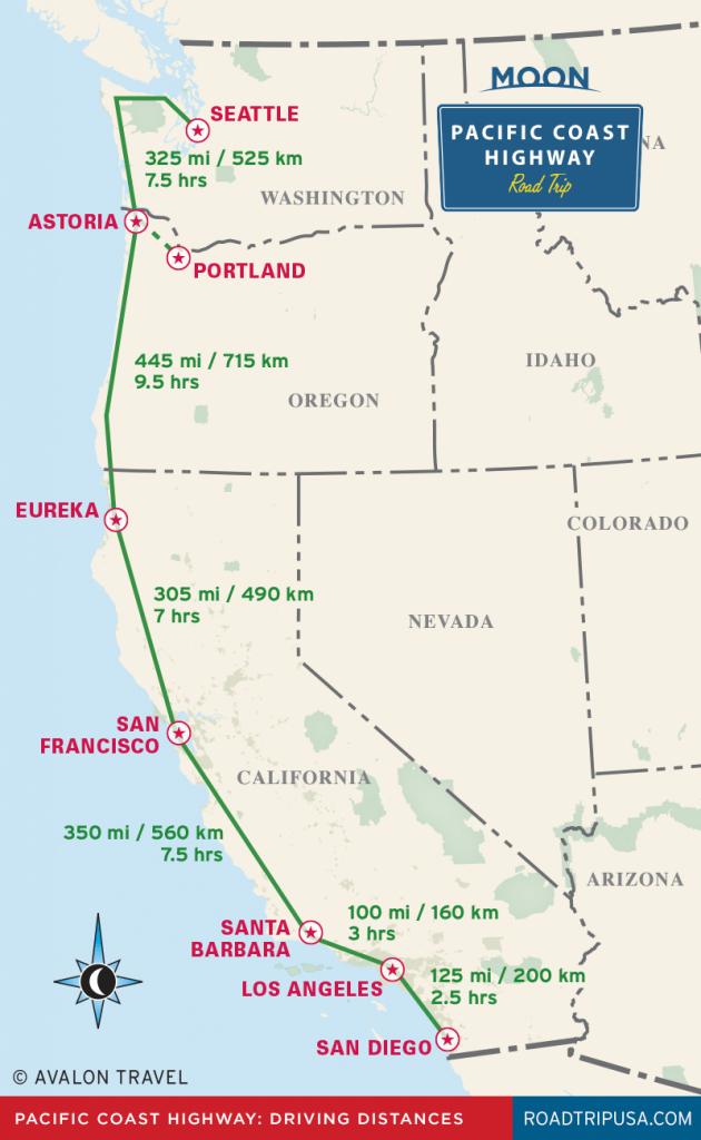 The Classic Pacific Coast Highway Road Trip   Road Trip Usa - Washington Oregon California Coast Map