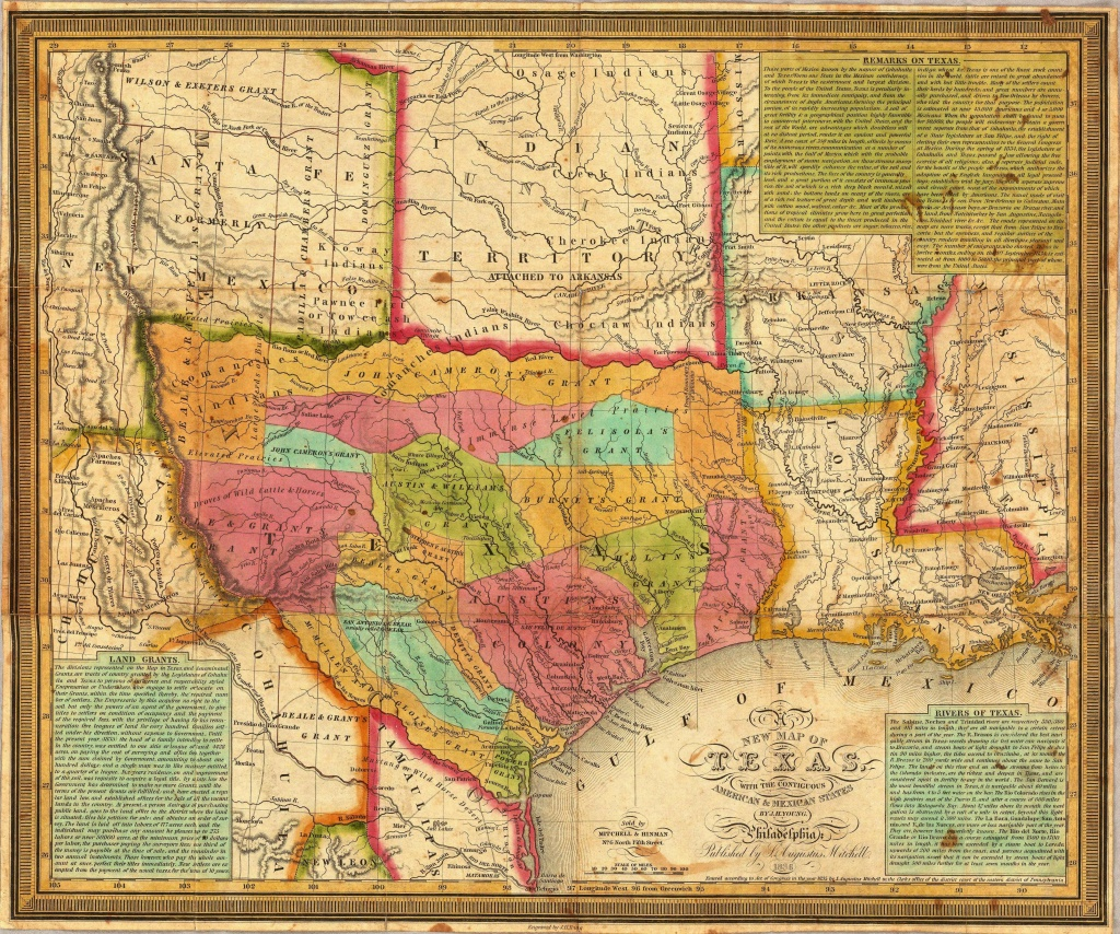 The First Map Published After Texas Became An Independent Sovereign - Republic Of Texas Map Overlay