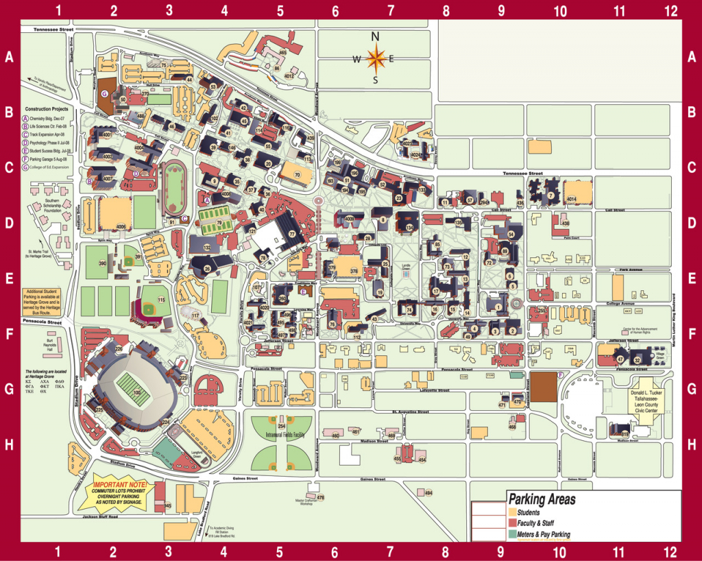 The Florida State University — Fsu Campus Map - Florida State University Map