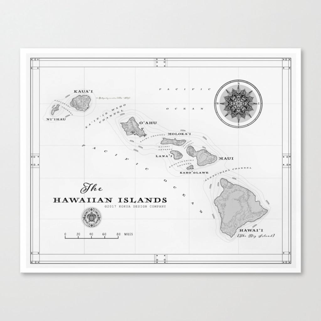 The Hawaiian Islands [Black & White] Map Print Canvas Print - Printable Map Of Hawaiian Islands