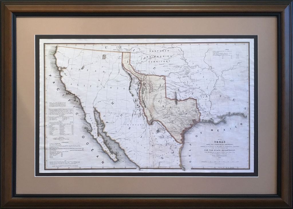 The Republic Of Texas As Recognizedthe United States - Gallery - Republic Of Texas Map Framed