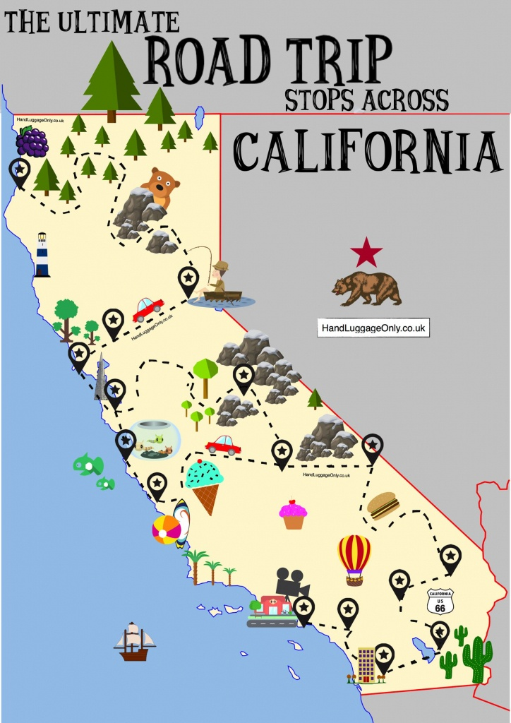 The Ultimate Road Trip Map Of Places To Visit In California - Hand - California Road Trip Map