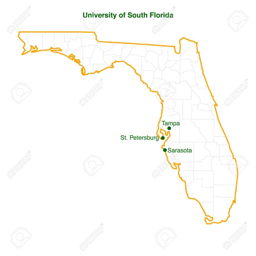 The Vector Map Of The University Of South Florida Usf Three - Tampa St Petersburg Map Florida