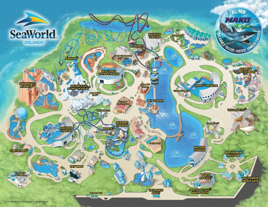 Theme Park & Attractions Map | Seaworld Orlando | Places I'd Like To - Seaworld Orlando Map 2017 Printable