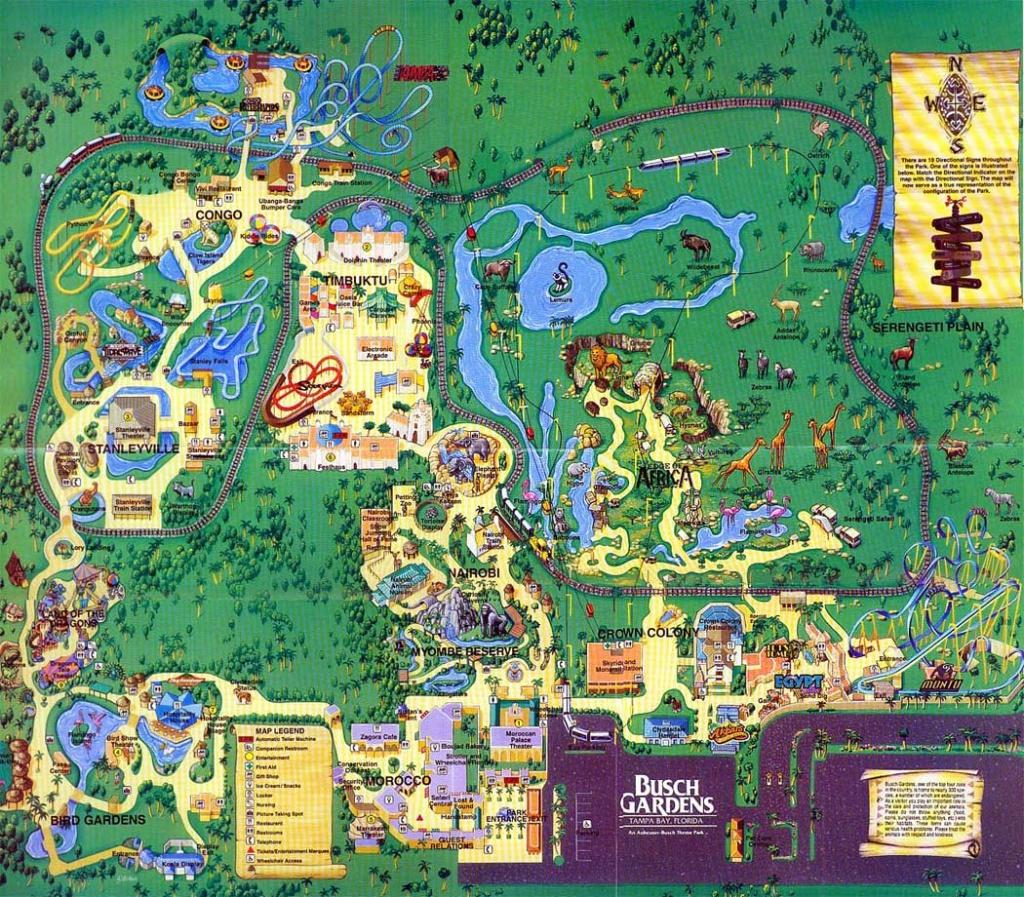 Theme Park Brochures Busch Gardens Tampa - Theme Park Brochures - Bush Garden Florida Map