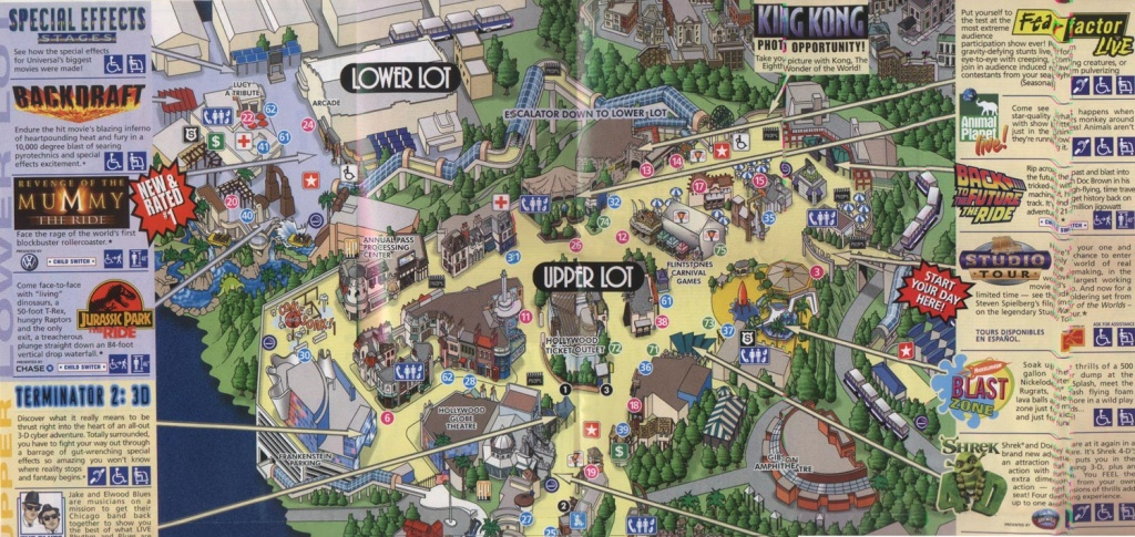 Theme Park Brochures Universal Studios Hollywood - Theme Park Brochures - Universal Studios California Map