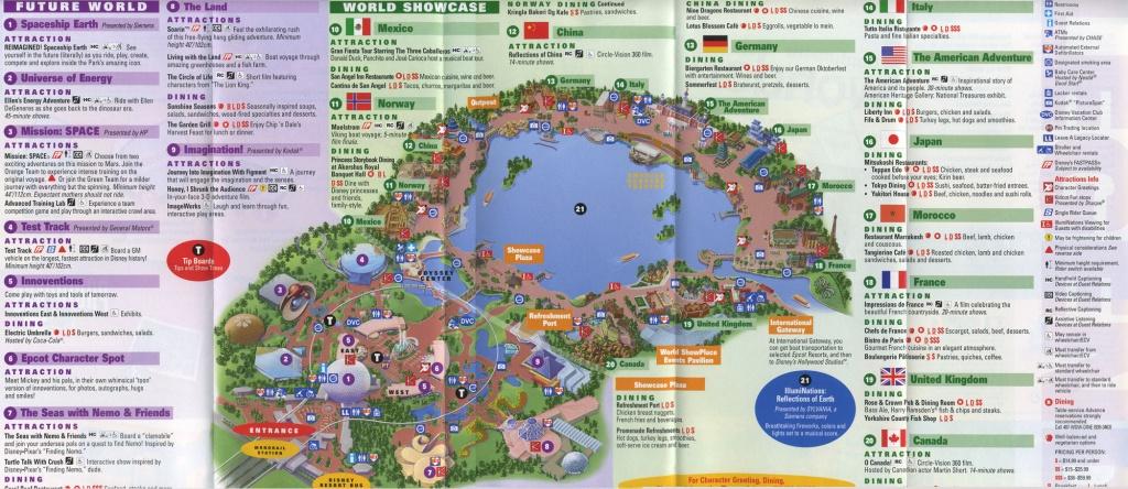 Theme Park Brochures Walt Disney World Epcot - Theme Park Brochures - Epcot Park Map Printable