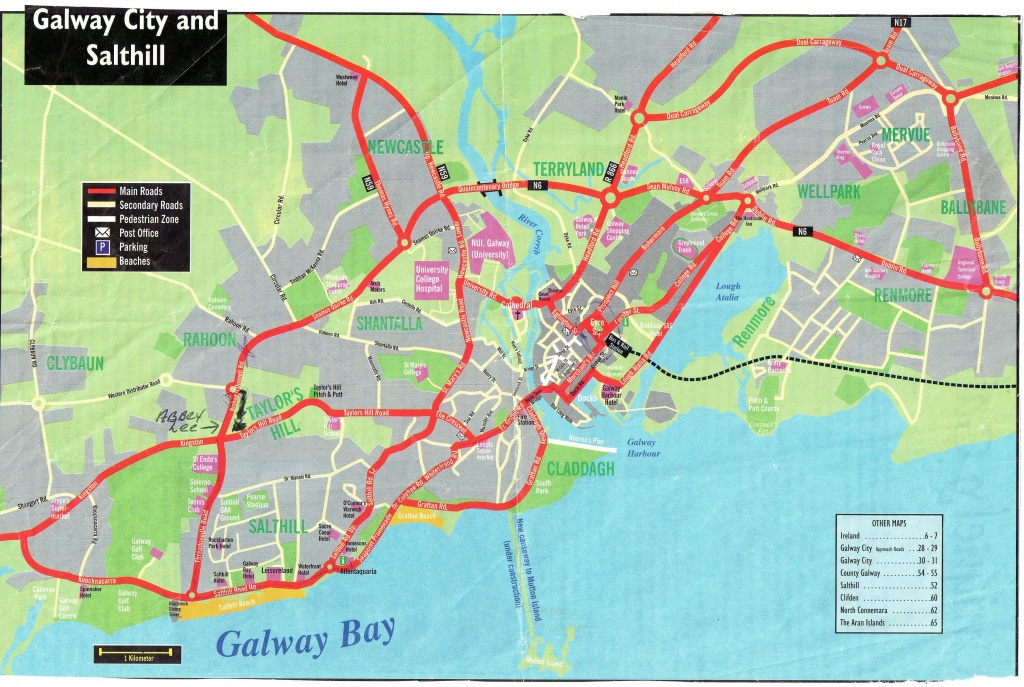 This Is A Map Of Galway City And Salthill The Beach Area ,near - Galway City Map Printable