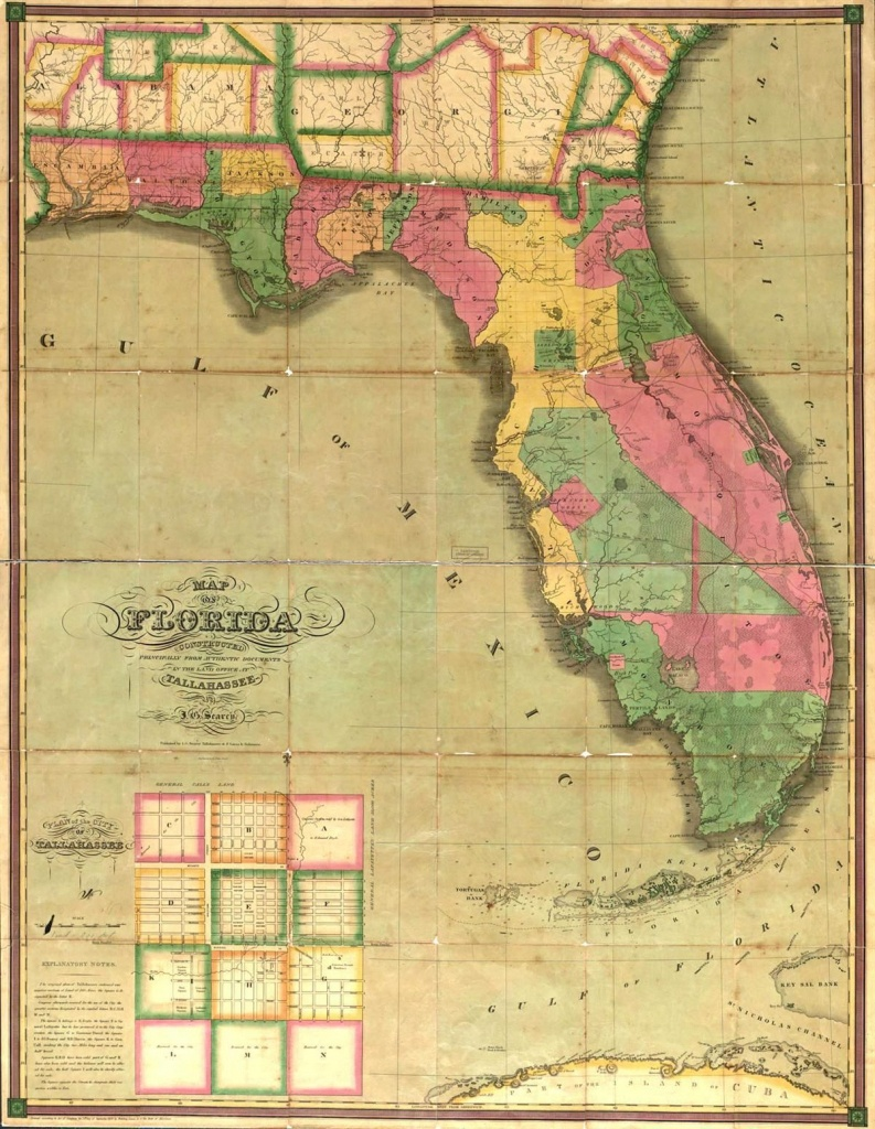 This Map Is Of Florida In The 1800's.   St. Augustine Primary Source - Vintage Florida Maps For Sale