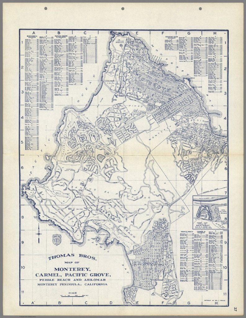 Thomas Bros. Map Of Monterey, Carmel, Pacific Grove, Pebble Beach - Monterey Beach California Map