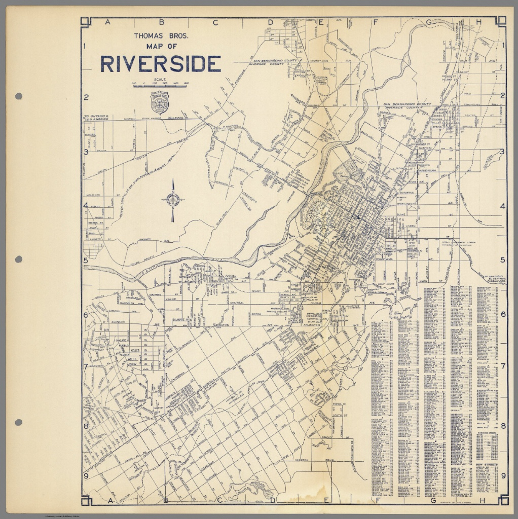 Thomas Bros. Map Of Riverside, California. - David Rumsey Historical - Printable Map Of Riverside County