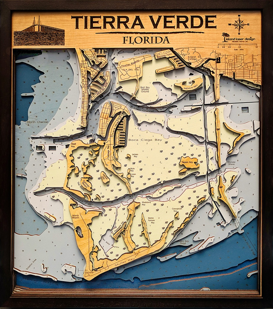 "Tierra Verde - Large - 7 Layers - 25"" X 30"" - Terra Verde Florida Map"