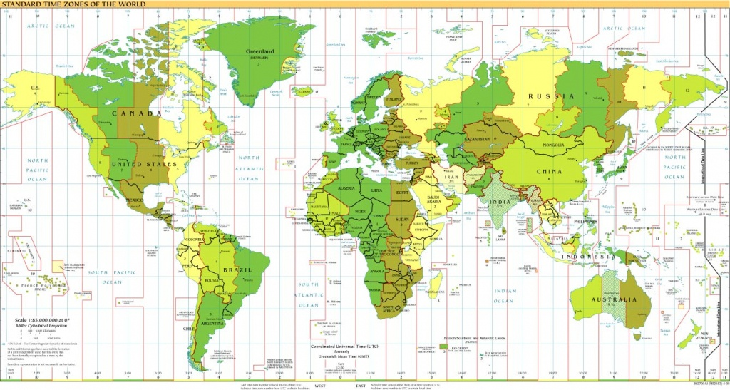 Time Zones Of The World Map (Large Version) - World Map Time Zones Printable Pdf