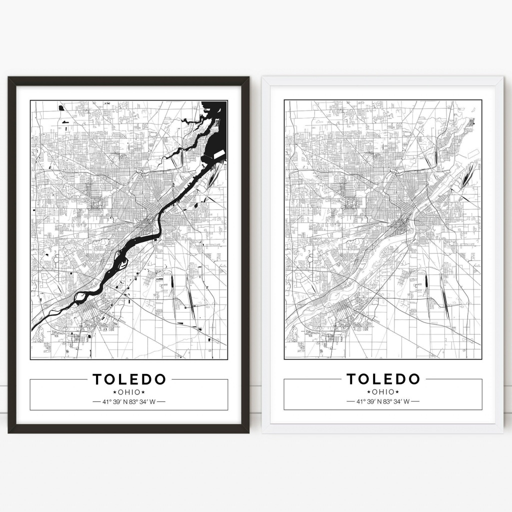 Toledo Map Ohio City Map Digital Poster Printable Wall | Etsy - Printable Map Of Toledo Ohio