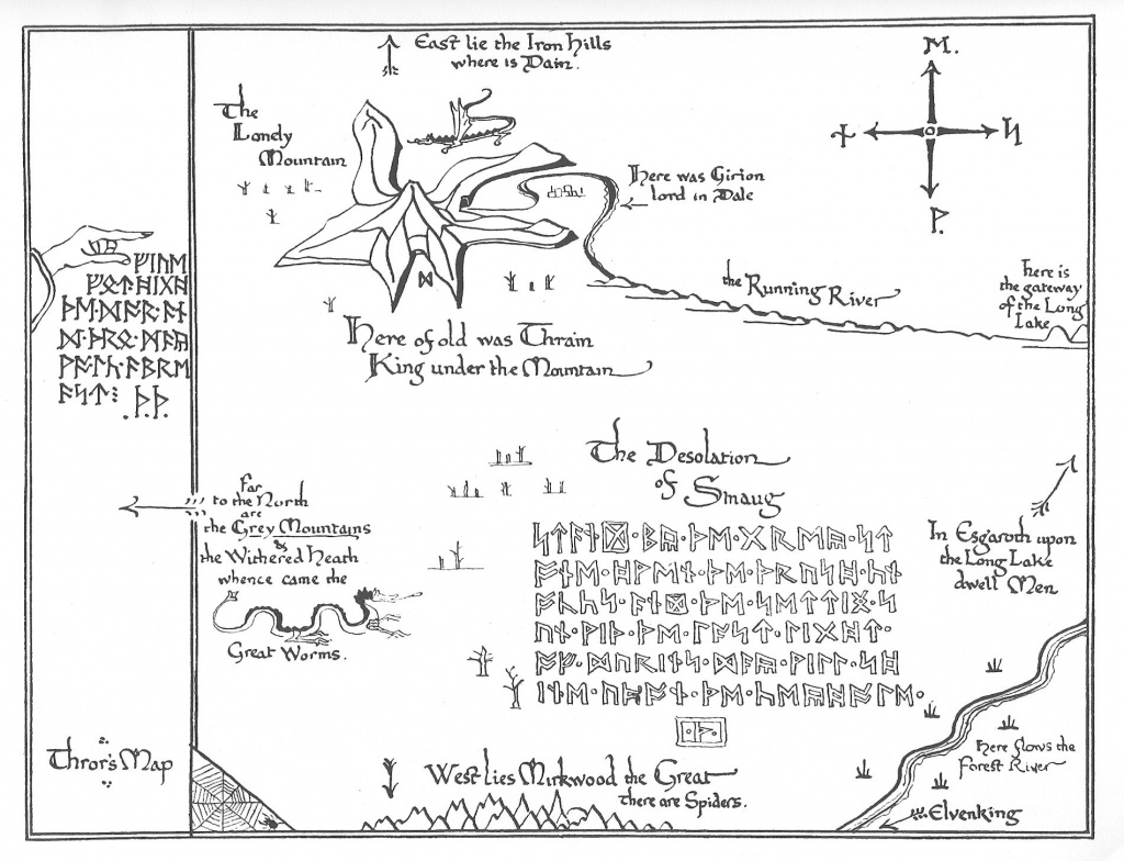 Tolkien Map - Thror's Map | Fantasy Maps | The Hobbit Map, Middle - Thror's Map Printable