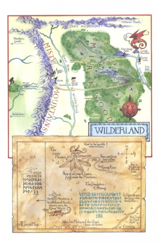Tolkien's Map Of The Wilderland And Thror's Map.. | Diorama - Thror's Map Printable