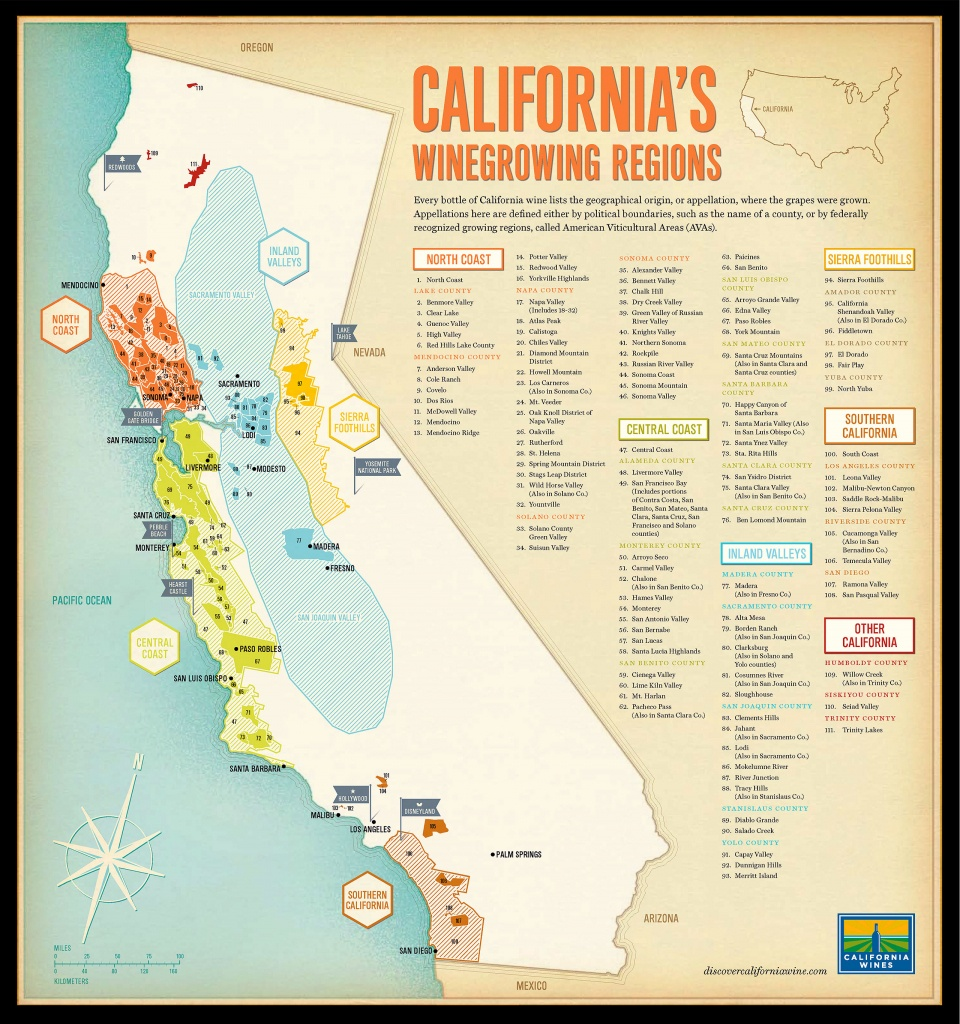 Tomorrow Partners | Wine Institute Of California - California Wine Map Poster