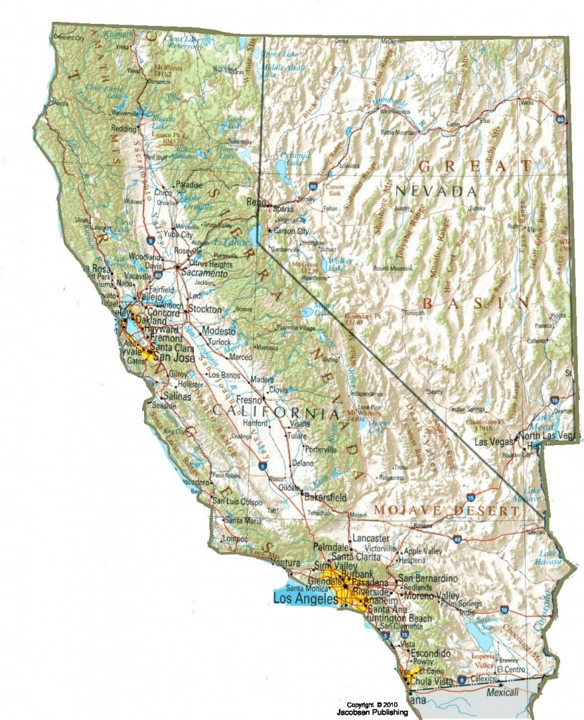 Topo Map Of California Cafull The Awesome Web Topographical - Topo Map Of California