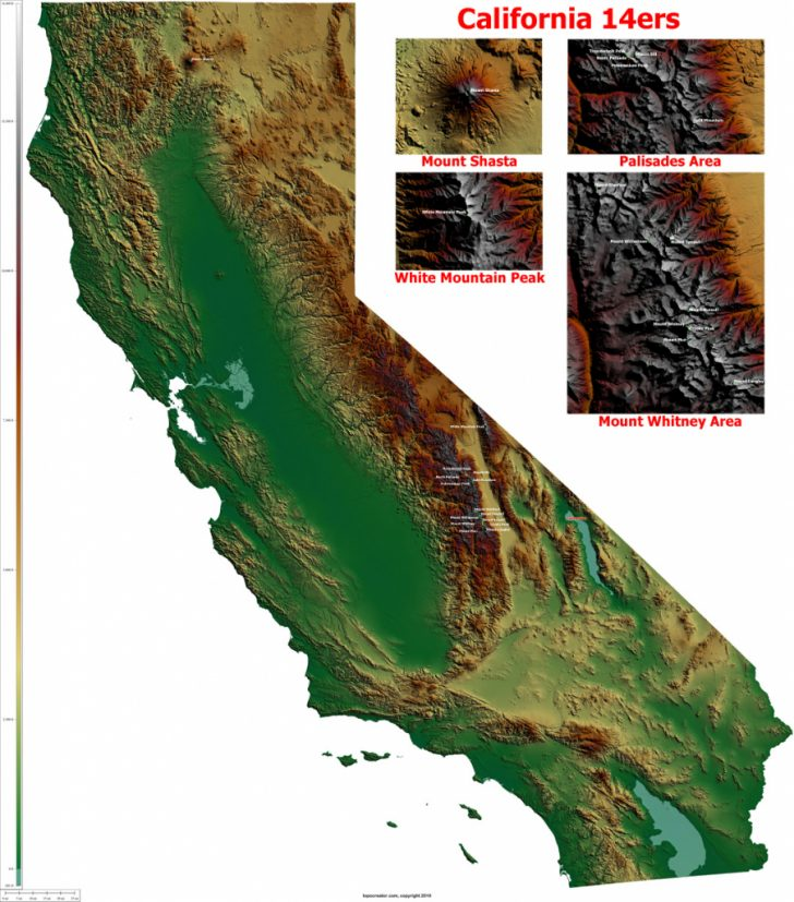California Relief Map Printable