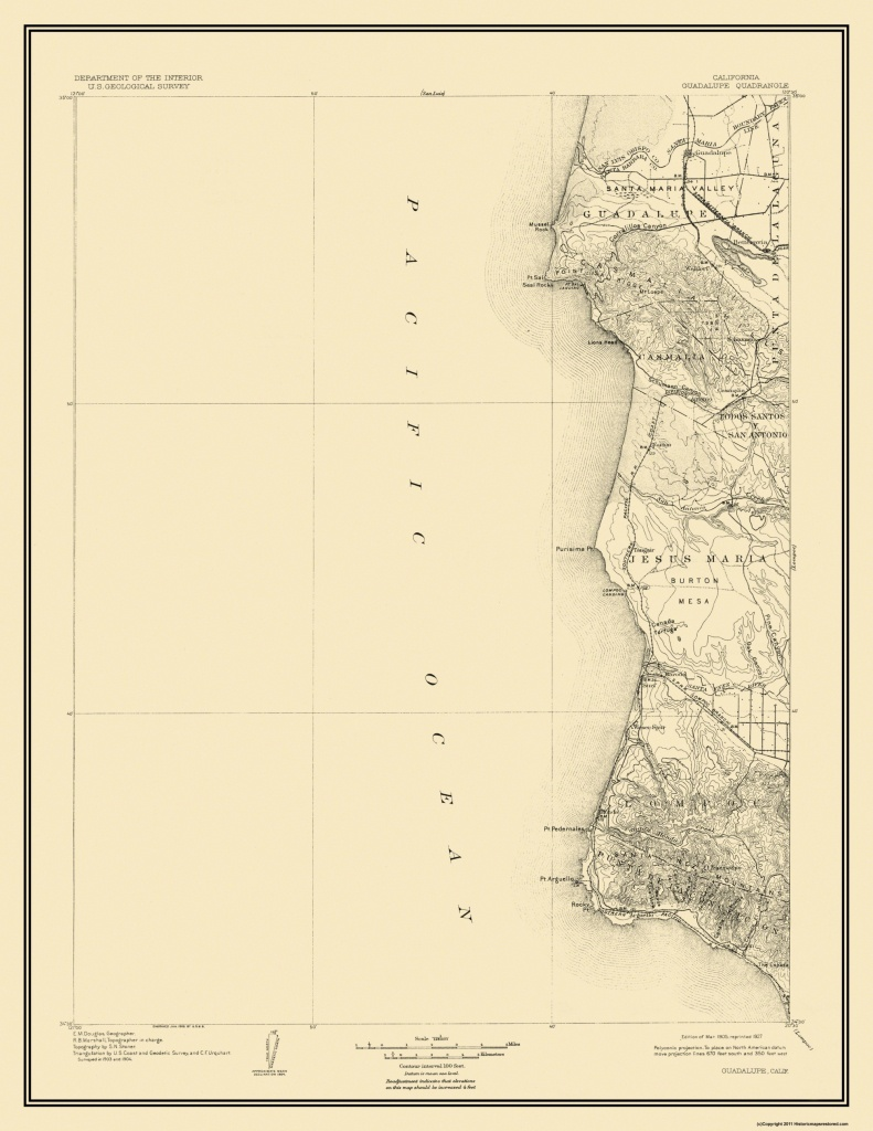 Topographical Map Print - Guadalupe California Quad - Usgs 1905 - 23 - Guadalupe California Map