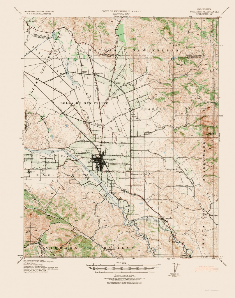 Topographical Map Print - Hollister California Quad - Usgs 1940 - 23 X 29.20 - Where Is Hollister California At On A Map
