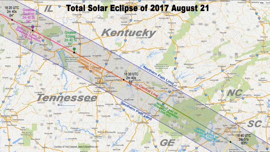 Total Eclipse Of The Sun: August 21, 2017 - Printable Eclipse Map