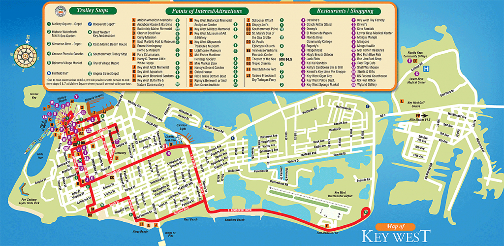 Tourist Attractions In Key West City Florida - Google Search | Kw In - Map Of Key West Florida Attractions