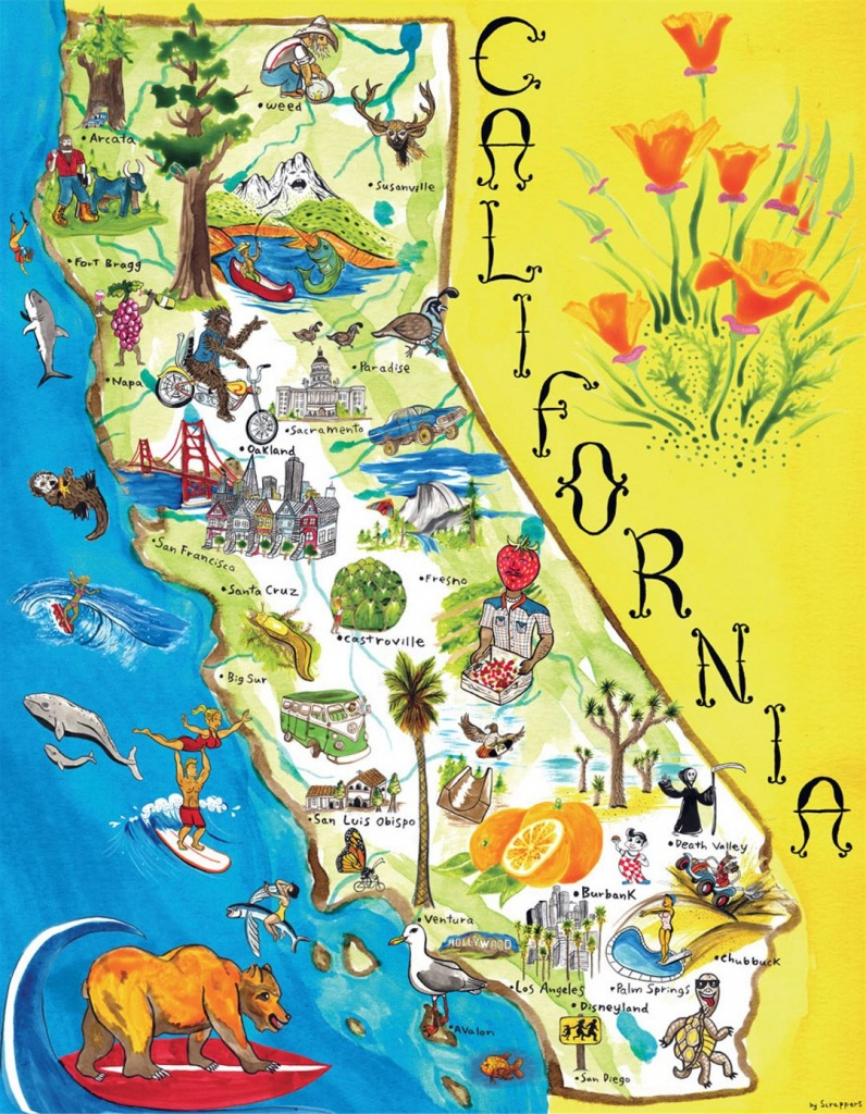 Tourist Illustrated Map Of California State   California State   Usa - Illustrated Map Of California