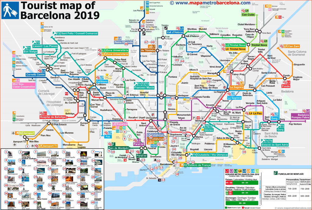 Tourist Map Of Barcelona, 49 Important Places For Tourists. - Printable Map Of Barcelona